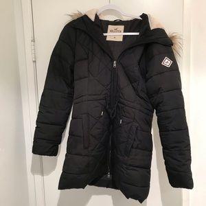 Hollister fur trim black jacket